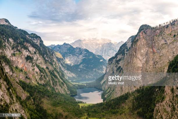 lake obersee and lake koenigssee off watzmann, berchtesgaden national park, berchtesgadenener land, upper bavaria, bavaria, germany - off stock pictures, royalty-free photos & images