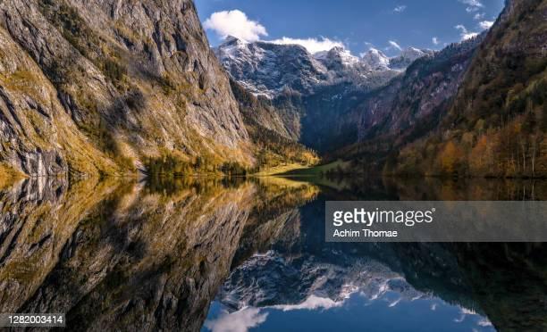 lake obersee, national park berchtesgaden - bavaria - germany - oberbayern stock-fotos und bilder