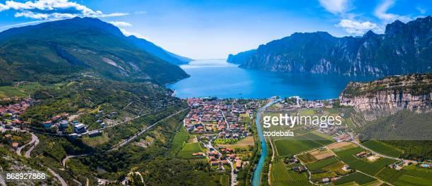 lake of garda panorama, trentino, italy - trento foto e immagini stock