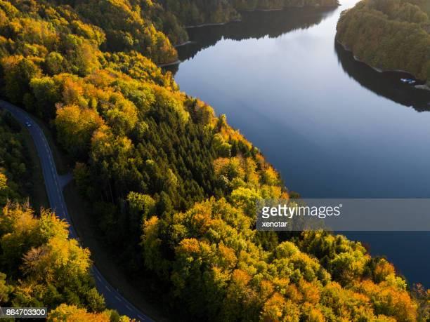 Lake of Gruyere in golden autumn