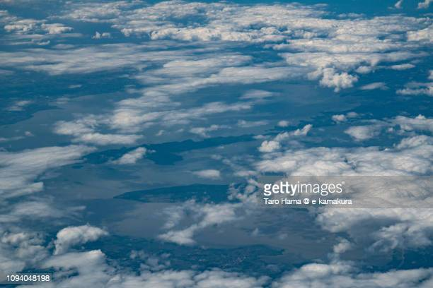 Lake of Laguna  in Province of Laguna in Philippines daytime aerial view from airplane daytime aerial view from airplane