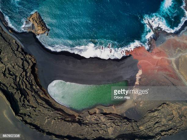 lake of the clicos - lanzarote stock pictures, royalty-free photos & images