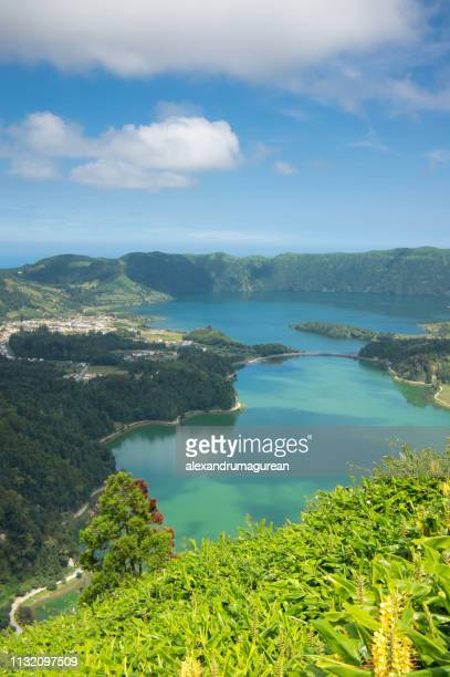 lake of the seven cities - lagoa das sete cidades -island of sao miguel ,azores, portugal - vertical stock pictures, royalty-free photos & images