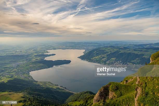 Lake of Zug seen from mount Rigi in Switzerland