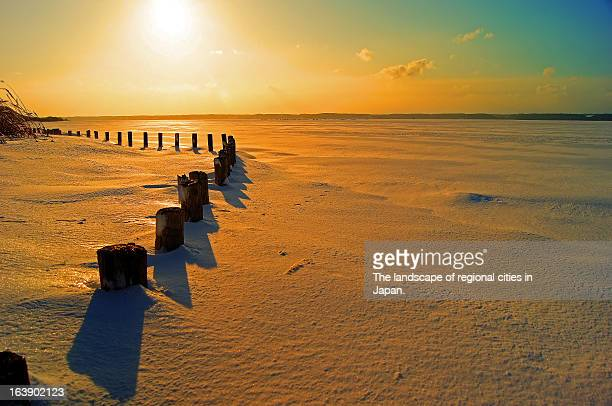 lake ogawara snowed under - aomori prefecture stock pictures, royalty-free photos & images