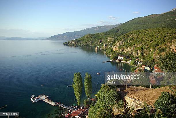 Lake Ohrid and the seaside village of Trpejca Republic of Macedonia On the right Galiica mountain