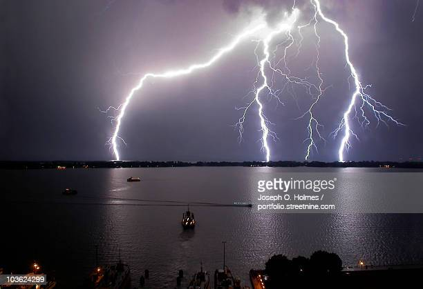 lake ontario lightning - joseph o. holmes stock pictures, royalty-free photos & images