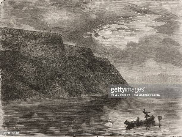 Lake Pepin United States of America drawing by Paul Huet from a sketch by M Deville from Il Giro del mondo Journal of geography travel and costumes...