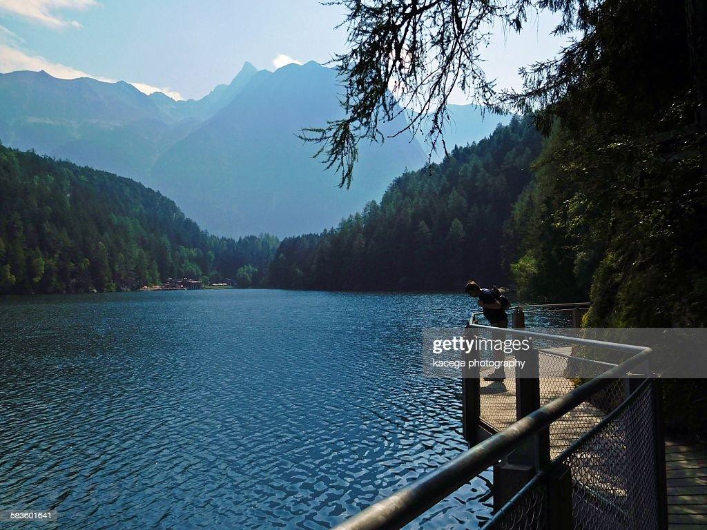Lake Piburg, Oetz, Tyrol : Stock Photo