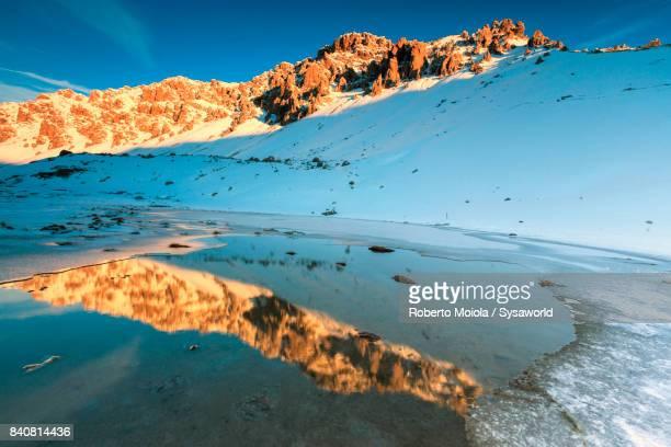 Lake Piz Umbrail at dawn, Valtellina, Italy