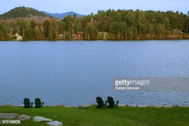 lake placid, new york, usa - mirror lake stock pictures, royalty-free photos & images
