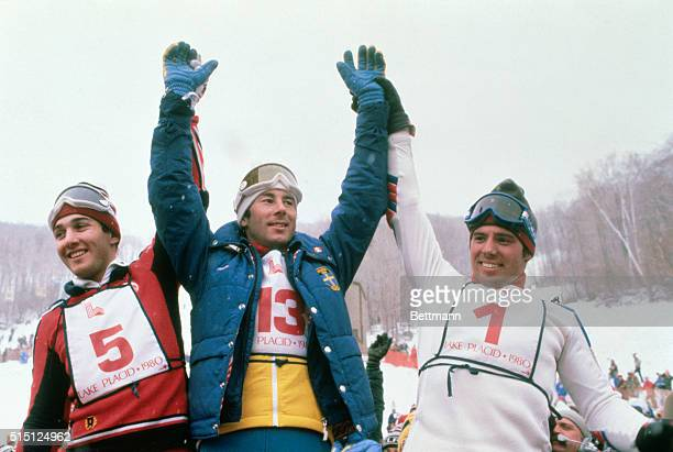 Winter Olympics Whiteface Mountain Giant Slalom Men Happy Ingemar Stenmark indicates with two fingers that he won second gold medal today Left is...