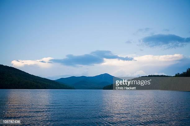 lake placid with whiteface mountain in background - lake placid stock pictures, royalty-free photos & images