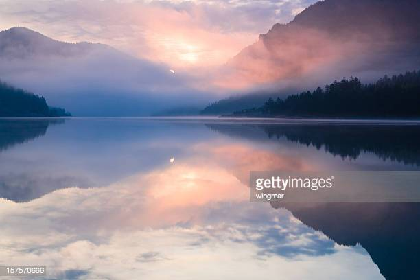 lake plansee - tranquility stock pictures, royalty-free photos & images