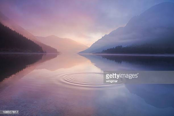 lake plansee, tirol austria - fog stock pictures, royalty-free photos & images