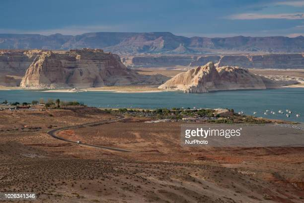Lake Powell and the surrounding area is seen from the Wahweap Overlook in Page Arizona in the Glen Canyon National Recreation Area on July 13 2018