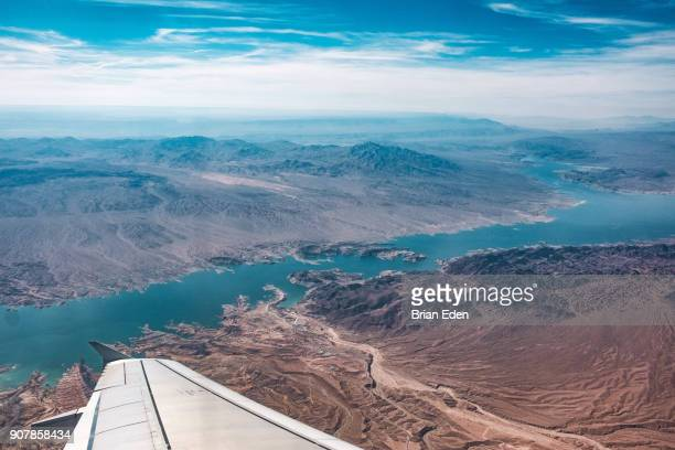 Lake Powell, Arizona seen from the window of an airplane