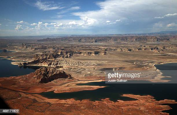 Lake Powell is shown from an airplane window on March 30 2015 in Page Arizona As severe drought grips parts of the Western United States a below...