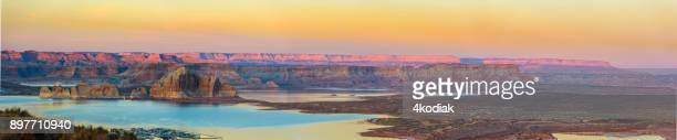lake powell  utah  panorama at sunset - lake powell stock pictures, royalty-free photos & images