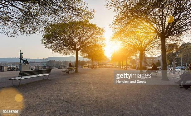 Lake promenade at Burkliplatz with Ganymed Statue, Zurich, Switzerland