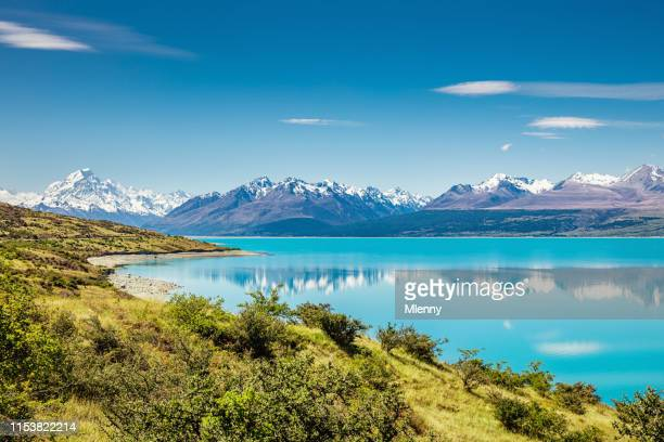 lake pukaki mount cook glacier turquoise lake new zealand - scenics stock pictures, royalty-free photos & images