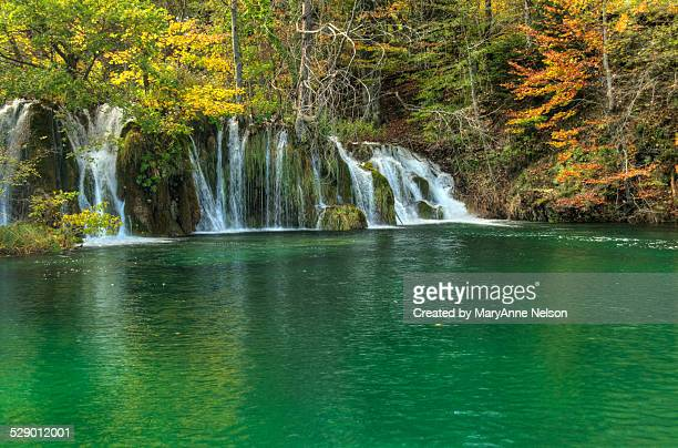 lake reflections and waterfalls - mary lake stock photos and pictures
