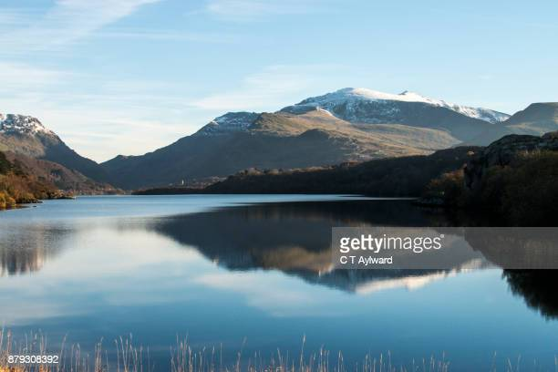 lake reflections - snowdonia stock photos and pictures