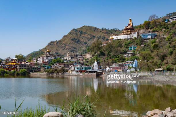Lake Rewalsar with view to Padmasambhava statue, Rewalsar, Himachal Pradesh, India
