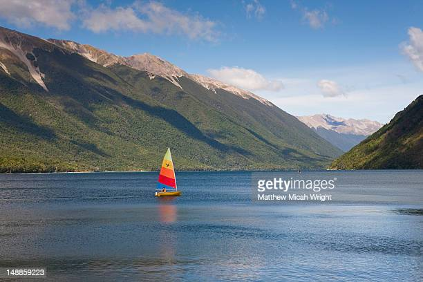 Lake Rotoiti is lake in the Tasman Region of New Zealand. It is a mountain lake within in the Nelson Lakes National Park. Sailing is a popluar activity on this lake
