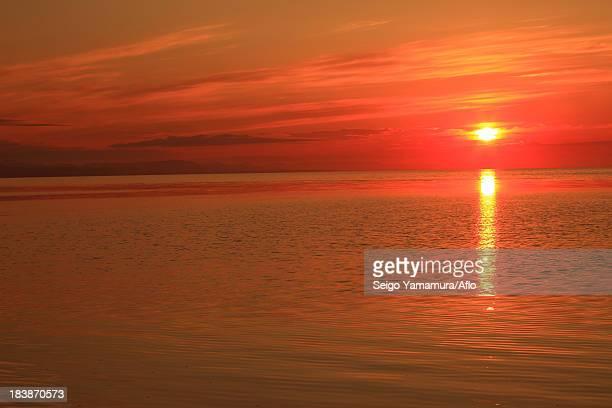 Lake Saroma at sunset, Hokkaido