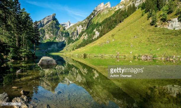lake seealpsee, swiss alps, appenzell, switzerland, europe - schnee stock pictures, royalty-free photos & images