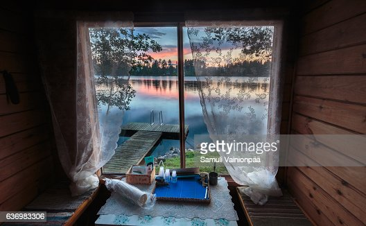 Lake seen from a traditional sauna window
