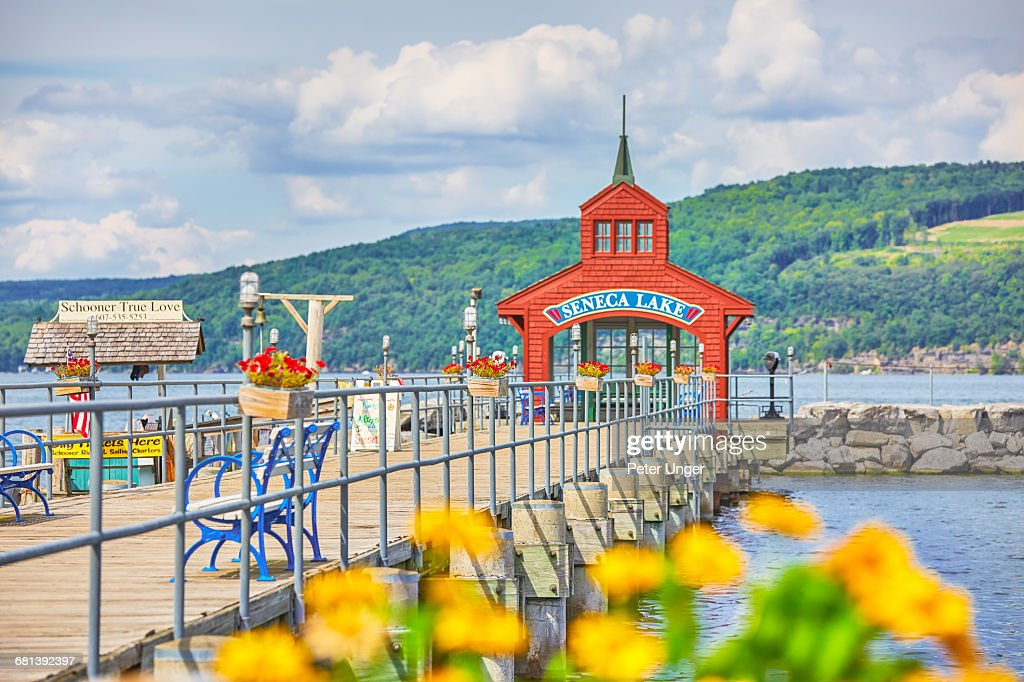 Lake Seneca pier Watkins Glen,New York State : Stock Photo