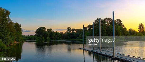 lake shore panorama - willamette river stock photos and pictures