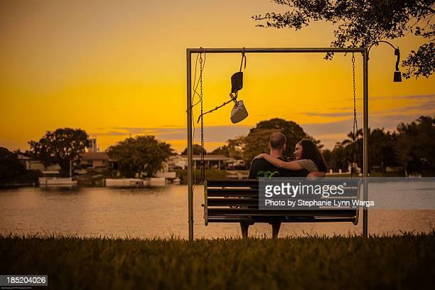 lake side sunset - フロリダ州ハリウッド ストックフォトと画像