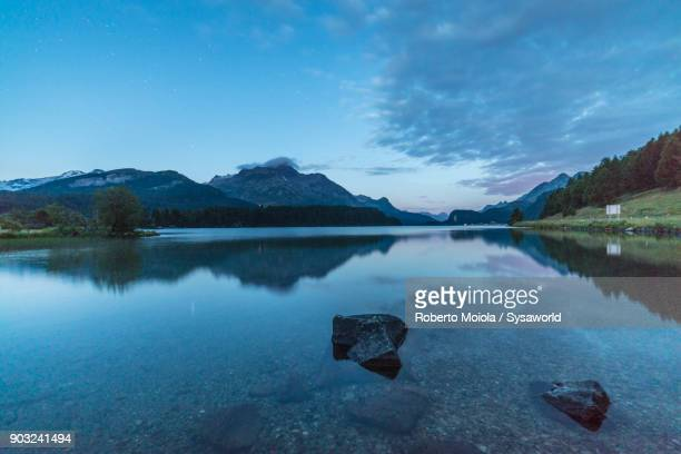 lake sils at dusk, switzerland - mirror lake stock pictures, royalty-free photos & images