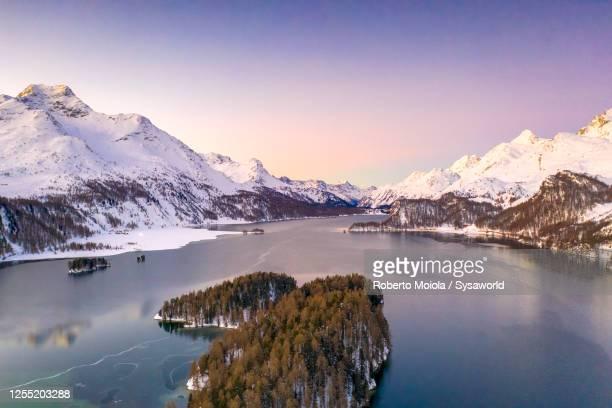 lake sils during a winter sunrise, switzerland - kanton graubünden stock-fotos und bilder