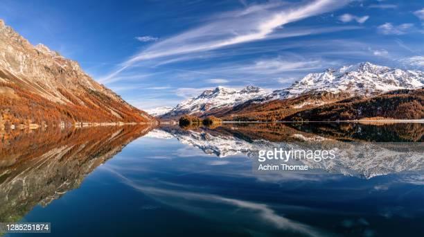 lake silser see, switzerland, europe - switzerland stock pictures, royalty-free photos & images