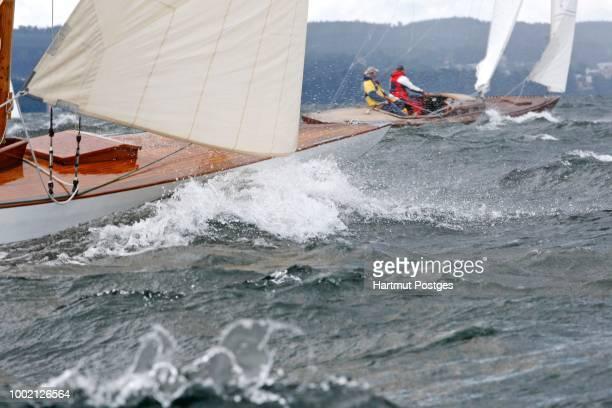 Lake Starnberg, Traditional Class Regatta, only for wooden boats built before 1940, Upper Bavaria, Bavaria, Germany
