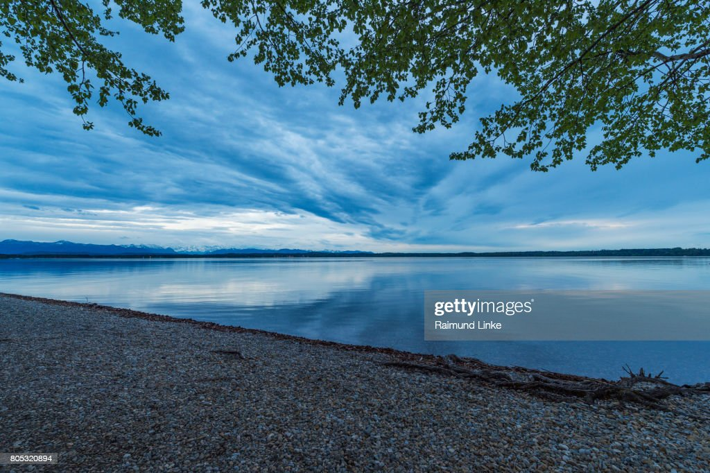 Lake Starnberger See In The Evening At Dusk Ambach Upper Bavaria ...