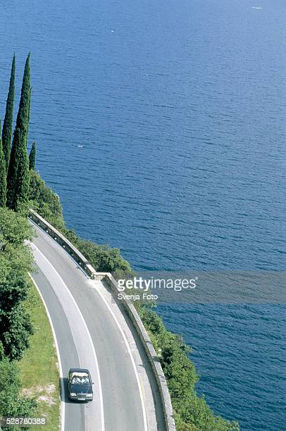 lake street at the lake garda, italy - italian cypress stock photos and pictures