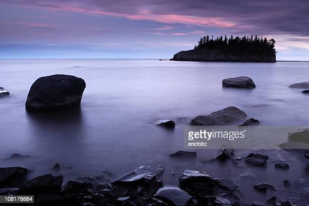 Lake Superior Shoreline and Island at Sunset