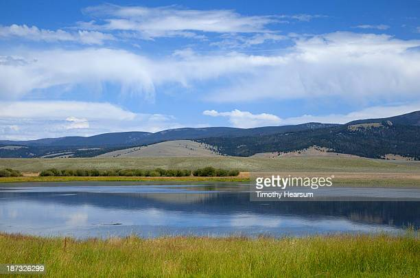 lake surrounded by grasses, hills and sky beyond - timothy hearsum stock-fotos und bilder