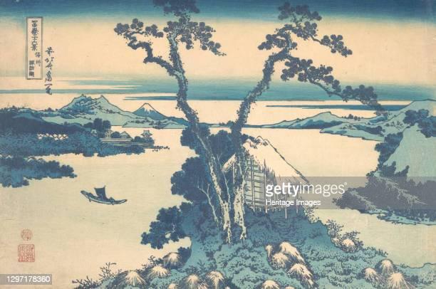Lake Suwa in Shinano Province , from the series Thirty-six Views of Mount Fuji , circa 1830-32. Artist Hokusai.