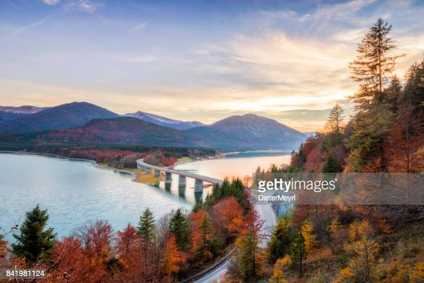 lake sylvester - sylvensteinspeicher at autmun, sylvensteinsee, bavaria, germany - germany stock pictures, royalty-free photos & images