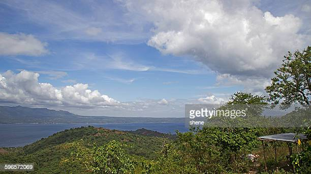 lake taal landscape - taal volcano stock photos and pictures