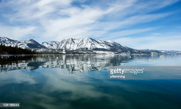 lake tahoe and mountains - lake tahoe stock photos and pictures