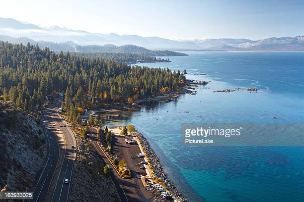 lake tahoe east shore autumn morning - lake tahoe stock pictures, royalty-free photos & images
