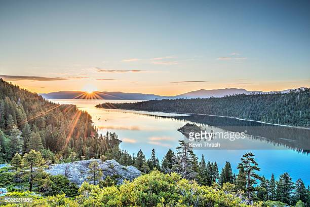 lake tahoe emerald bay sunrise - lake tahoe stock photos and pictures