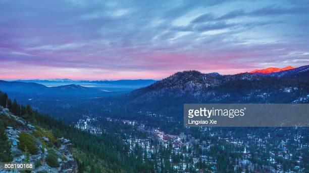 Lake Tahoe Mountains at dusk, Californian Sierra Nevada